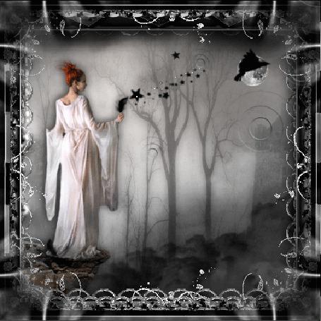 Фото Ночь. Сказочный лес. Женщина в белом одеянии. Порхающая на фоне полной луны черная птица