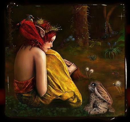 Фото Королева эльфов и заяц, встретившиеся взглядами