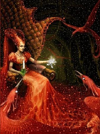 Фото Повелительница сказочных существ восседает на троне, в её руках блестит волшебный огонь