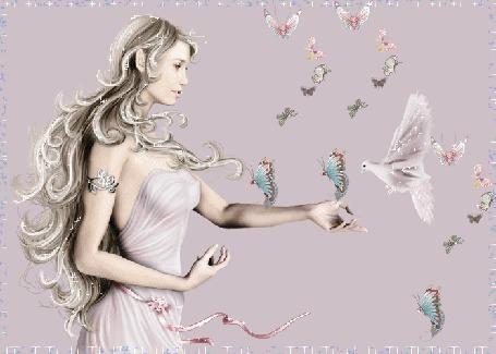 Фото Добрая лесная нимфа, фантастической красоты, подзывает хрупких бабочек