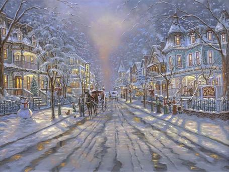 Фото Небольшой городок встречает Рождество, на улицах нарядно одетые горожане, кареты, рождественские венки и, конечно, снежные бабы (© Anatol), добавлено: 28.12.2011 16:37