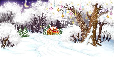 Фото Лес зимой-дерево, украшенное елочными игрушками, пряничный домик, месяц на небе (© Anatol), добавлено: 30.12.2011 00:46