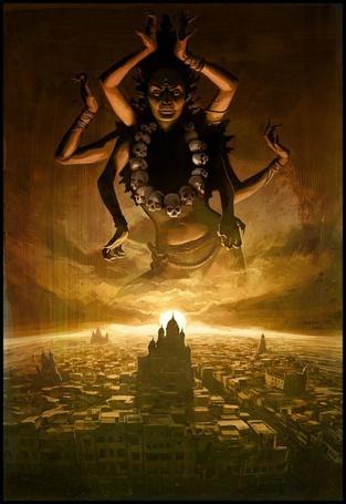 Фото Страшный многорукий демон повис над спящим городом, конец света?