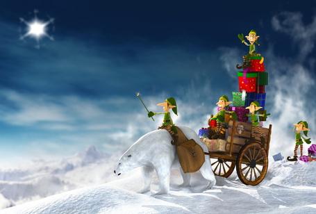 Фото Эльфы на белом медведе развозят новогодние подарки детям