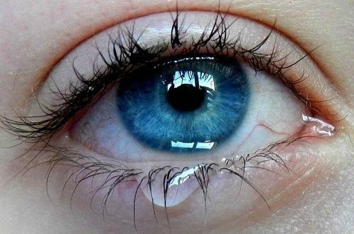 Глаз девушки со слезой