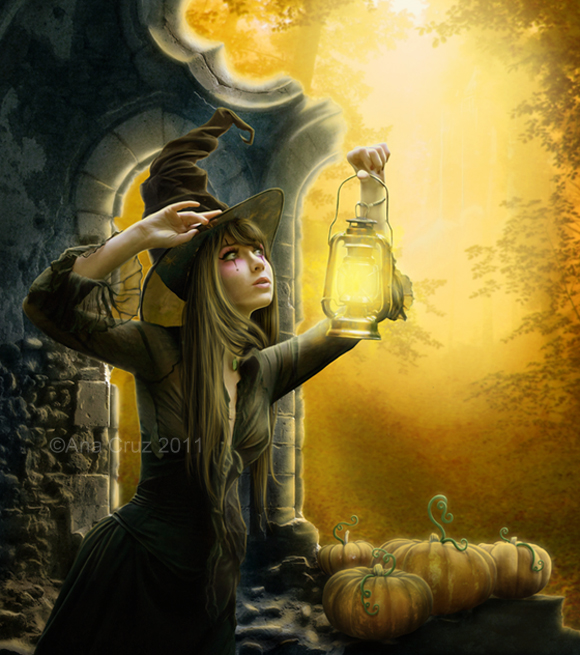 Фото Ведьма с фонарем вглядывается в даль
