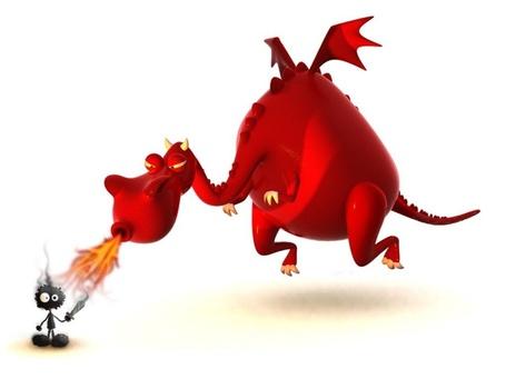 Фото Красный дракон пытается сжечь храброго рыцаря