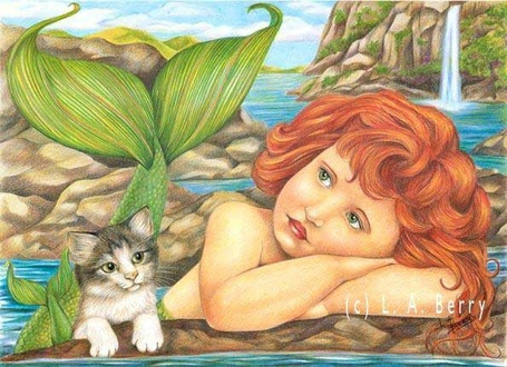 Фото Русалочка грустит, рядом сидит котёнок (L. A. Berry (c)) (© Anatol), добавлено: 04.01.2012 16:56