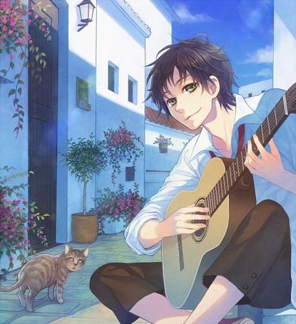 Фото Парень с гитарой и кошка