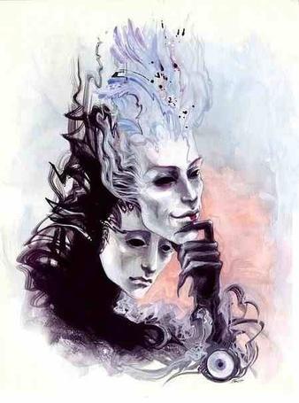 Фото Женщина снимает весёлую маску (© Julia_57), добавлено: 13.01.2012 19:12