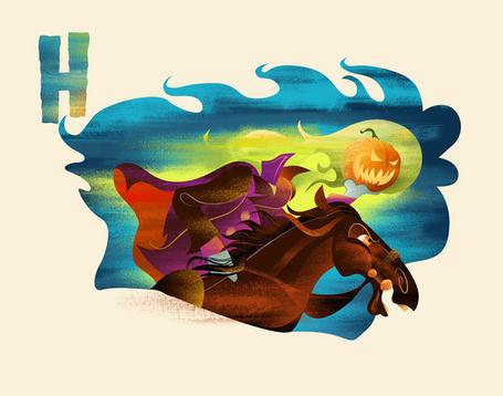 Фото Конь скачет в ночи подгоняемый всадником, вместо головы у которого горящая тыква, которую тело держит в руке (Dave Mott) (© Radieschen), добавлено: 14.01.2012 18:41