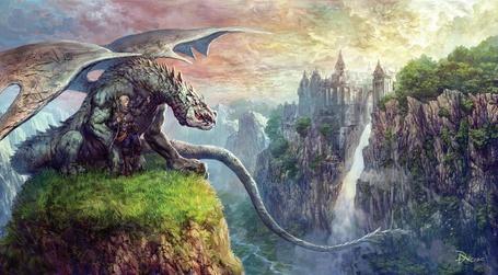 Фото Воин с драконом всматриваются в замок, который высится на противоположной стороне ущелья (© Anatol), добавлено: 17.01.2012 14:33