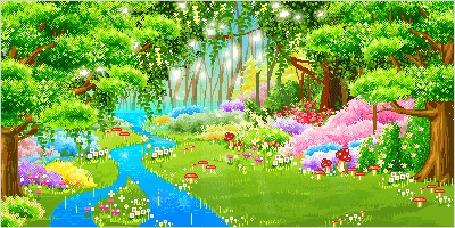 Лес картинка для детей анимация