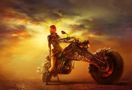 Фото Девушка в пустыне на байке