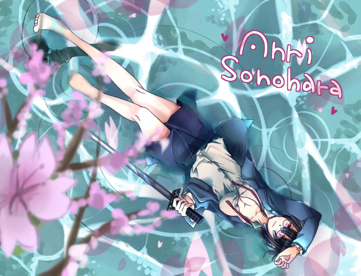 Фото Анри Сонохара из аниме Durarara с проклятым клинком лежит на воде (Anri Sonohara)
