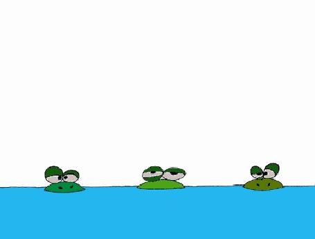 Фото Лягушки кушают комаров, а потом крокодил кушает их