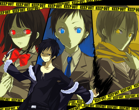Фото Анри, Микадо, Кида и информатор Изая Орихара из аниме Durarara (KEEP OUT)