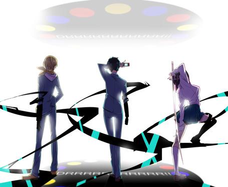 Фото Масаоми Кида, Рюгамине Микадо и Анри Сонохара из аниме Durarara