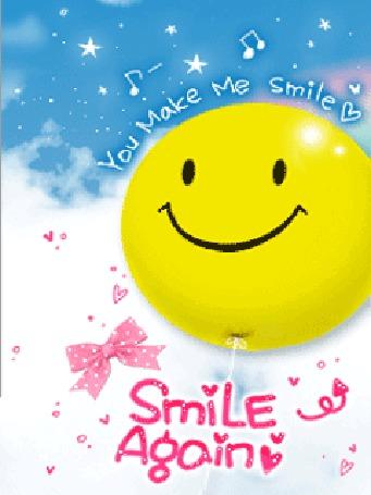 Фото Большой желтый смайлик с надписями (You make me smile, Smile Again)