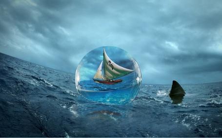 Фото Кораблик в шаре плывёт по морю (© Флориссия), добавлено: 13.02.2012 10:29