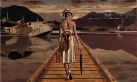 Фото Девушка с зонтиком и чемоданом направляется к самолету, севшему на воды, художник Peregrine Heathcote (© Radieschen), добавлено: 16.02.2012 08:00