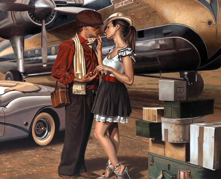 Фото Пращание влюбленной парочки в аэропорту, художник Peregrine Heathcote