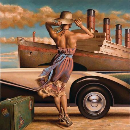 Фото Девушка приехала в порт в ветренную погоду, художник Peregrine Heathcote