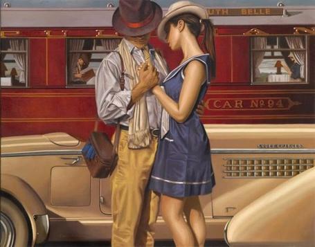 Фото Парень и девушка расстаются на вокзале, художник Peregrine Heathcote (© Radieschen), добавлено: 16.02.2012 08:26