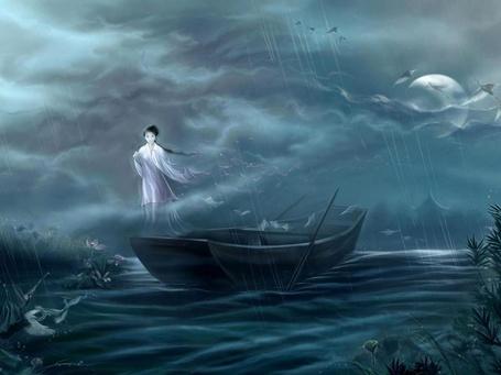 Фото Призрак утонувшей девушки в воздухе над лодкой