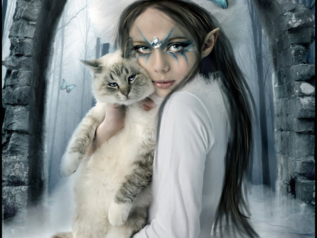 Фото Эльфийка с котом