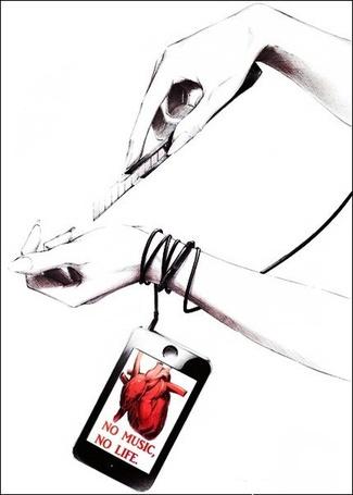 Фото Девушка  хочет порезать руку ножом. No music, no live/ Нет музыки, нет жизни (© Фенн), добавлено: 23.02.2012 15:24