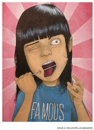Фото Девочка протыкает себе щёки спицей, на ней майка  надписью 'Famous' (Issue 3 / molokoplus magazine) (© Anatol), добавлено: 26.02.2012 17:03