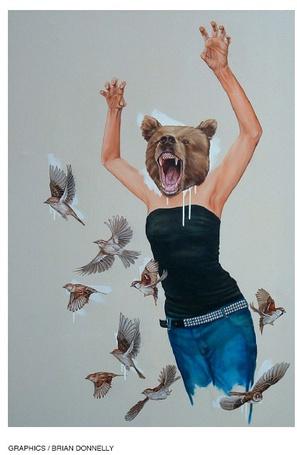 Фото Девушка с головой медведя, вокруг летают птицы (Grafics / Brian Donnely)