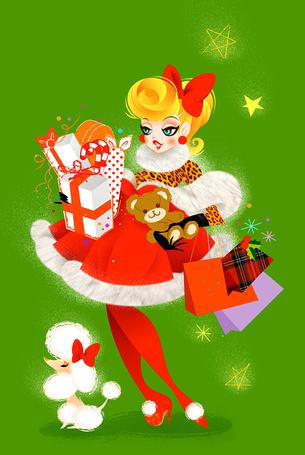 Фото Девушка с подарками и пуделем (© Штушка), добавлено: 28.02.2012 20:44