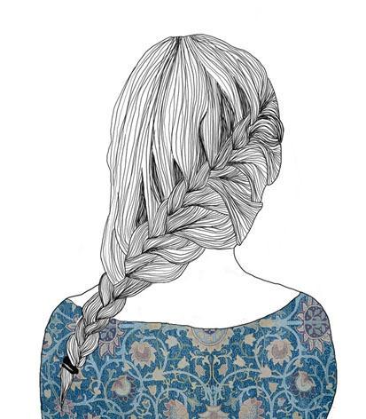Фото нарисованная девушка с косой