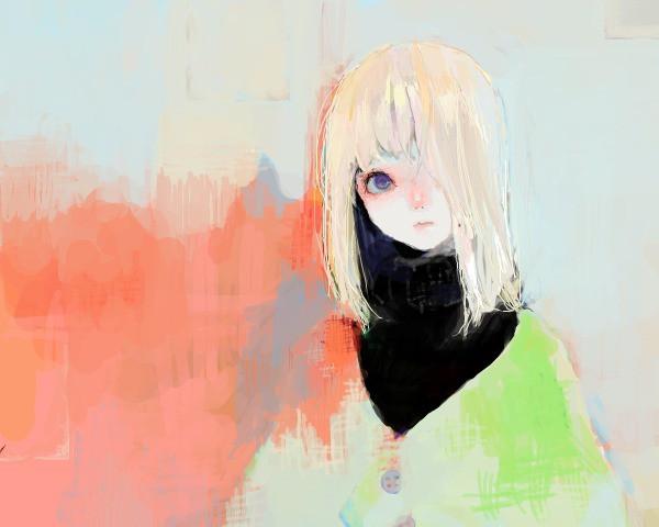 Ангельская девушка с белыми волосами