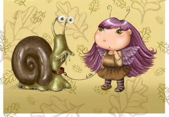 Фото Маленькая фея прогуливает на поводке улитку