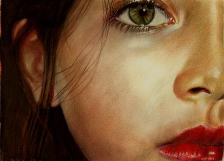 Фото Зеленоглазая девочека с яркими губами, рисунок карандашами, художник Brian Scott, Briscott