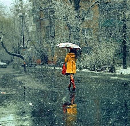 Фото Девушка в желтом плаще  с зонтом идет по городу под дождем