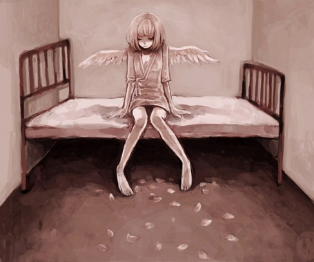 Фото Трудно быть ангелом на земле где дьявол правит тобой (девушка с крыльями сидит на кровати)