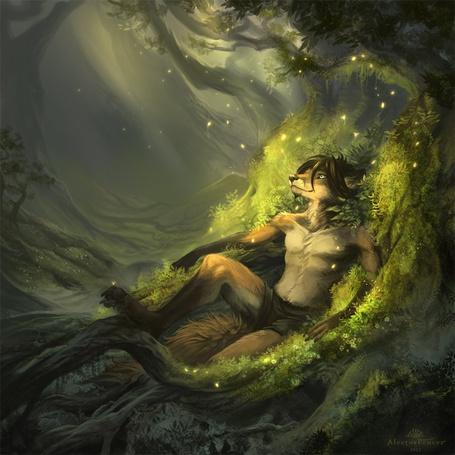 Фото Лиса в человеческом образе, лежит на мху у дерева, иллюстратор Alectorfencer (© Anatol), добавлено: 06.03.2012 17:12