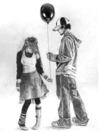 Фото Рисунок парня и девушки, которые держат воздушный шарик