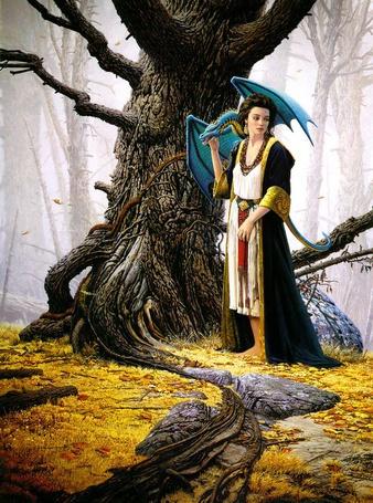 Фото Девушка с прирученным драконом - Keith Parkinson (© Anatol), добавлено: 08.03.2012 01:35