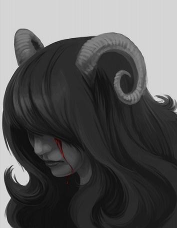 Фото Aradia Megido / Арадия Мегидо из веб-комикса Хоумстак / Homestuck плачет кровавыми слезами