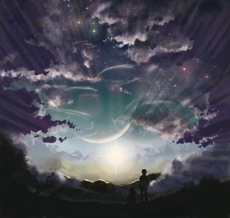 Фото Парень и девушка смотрят волшебный закат, арт на аниме Byousoku 5 Centimeter / Пять сантиметров в секунду