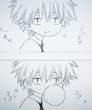 Фото  Усуи Такуми / Usui Takumi из амине *Президент студсовета – горничная! / Kaichou wa Maid-sama!* надувает шарик из жвачки (© OvManiac), добавлено: 09.03.2012 11:08