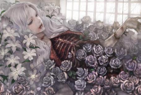 Фото Девушка среди роз - Аниме с элементами гуро