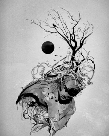 Фото У человека из головы растет дерево, иллюстратор Nicebleed
