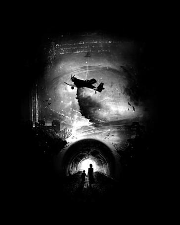 Фото Мать и дитя идут по тоннелю, над которым пролетает самолет, иллюстратор Nicebleed