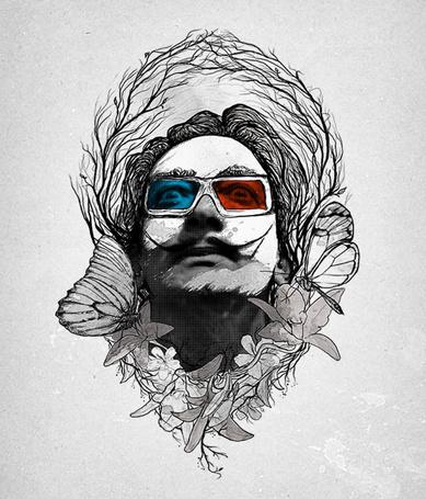 Фото Сальвадор Дали / Salvador Dali  в 3D очках, иллюстратор Nicebleed